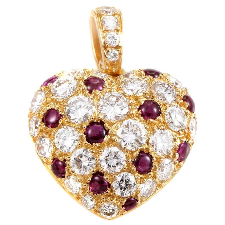 Cartier Ruby and Diamond Pave Gold Pendant