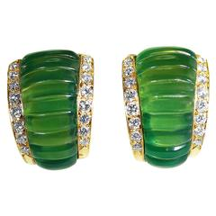 Vintage Van Cleef & Arpels Chrysoprase Diamond Gold Earclips