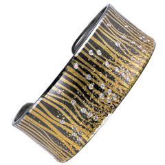 Atelier Zobel Diamond Oxidized Silver Gold Narrow Cuff Bracelet