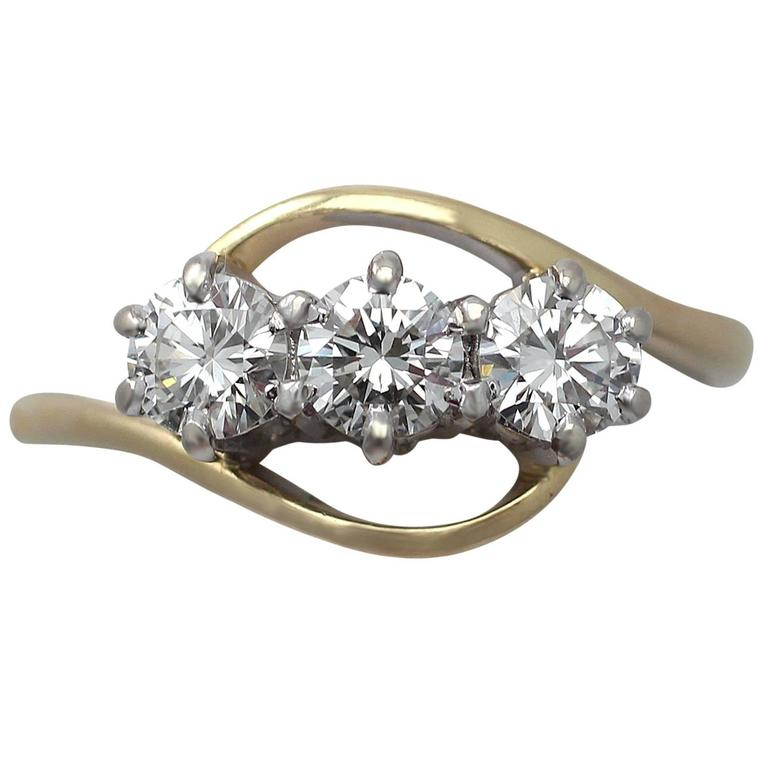 0.65 Carat Diamond and 18 Karat Yellow Gold Trilogy Ring, Contemporary, 1997