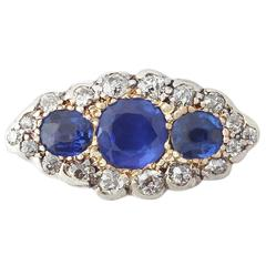 1900s 1.48 Carat Sapphire and 1.04 Carat Diamond Yellow Gold Cocktail Ring
