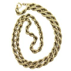 9k Yellow Gold Rope Twist Chain Necklace - Antique Victorian