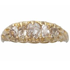 1890s Antique 1.28 Carat Diamond and Yellow Gold Five Stone Ring
