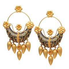 Gold Silver Flower Boat Earrings