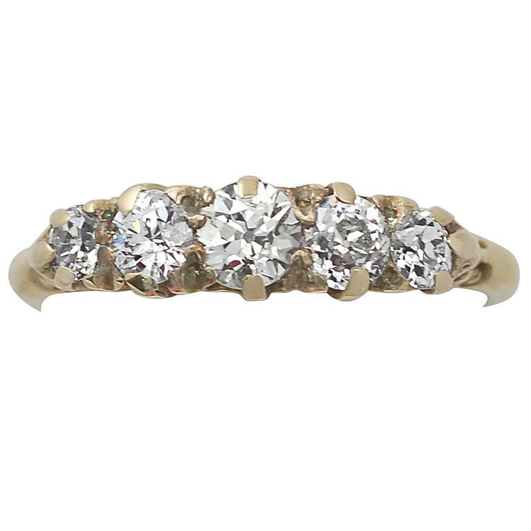 1.05 Carat Diamond and 18 Karat Yellow Gold, Five-Stone Ring, Antique circa 1910