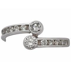 0.50 Carat Diamond and 14 Karat White Gold Twist Ring, Vintage, circa 1980