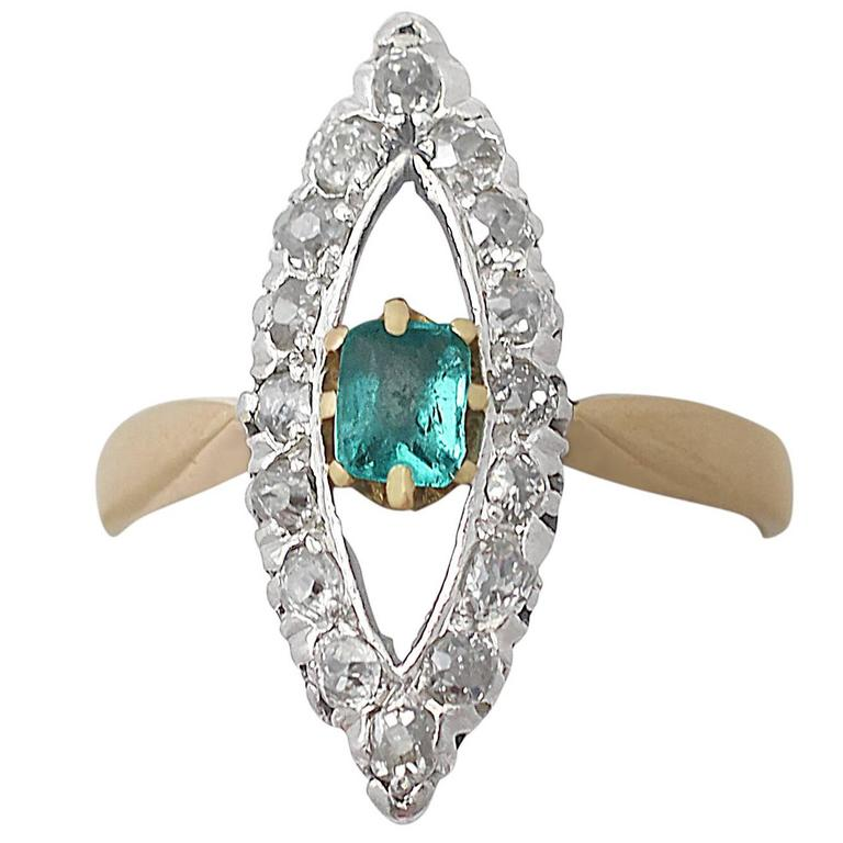 1890s Antique Emerald & Diamond Yellow Gold Cocktail Ring