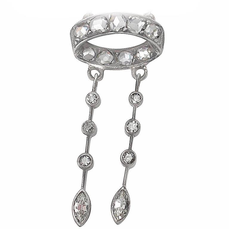 0.72Ct Diamond and 18k White Gold Pendant - Antique Circa 1920