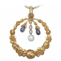 Pearl, 0.06Ct Sapphire and 0.04Ct Diamond, 14k Yellow Gold Pendant, Antique