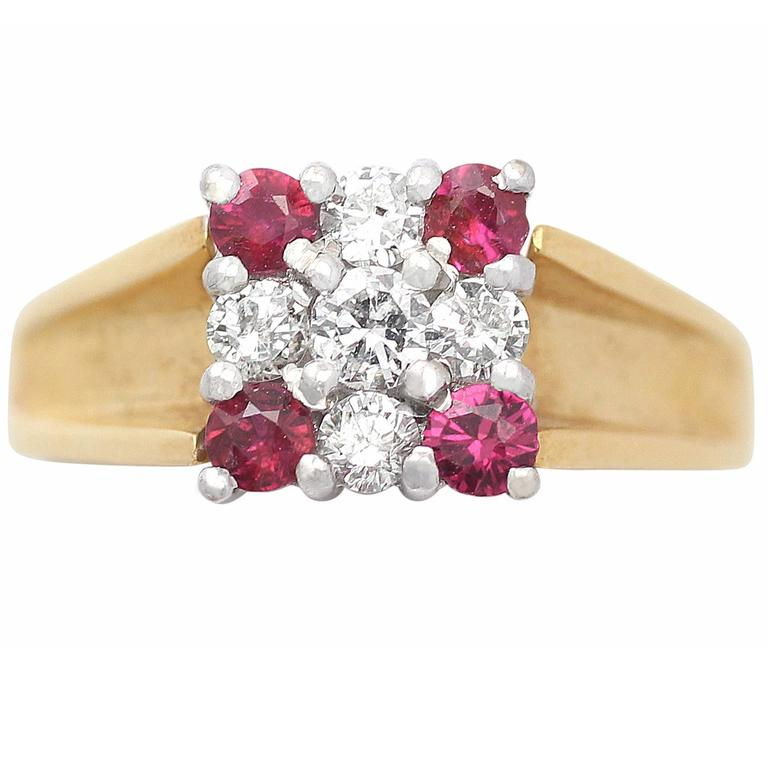 Ruby and Diamond Yellow Gold Cocktail Ring