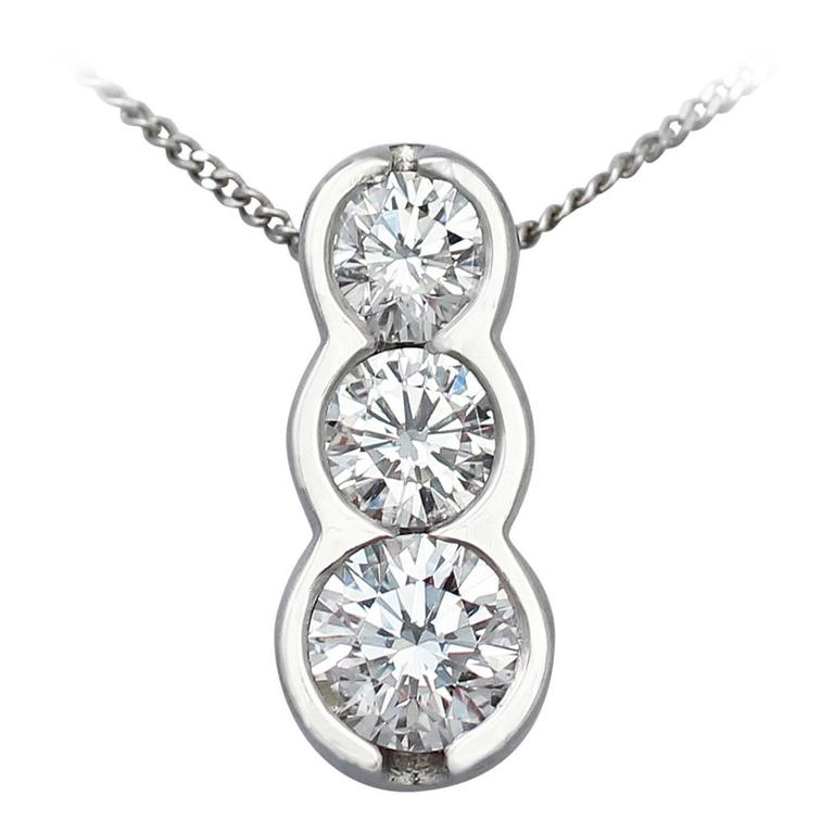 0.58Ct Diamond Trilogy Platinum Pendant - Contemporary