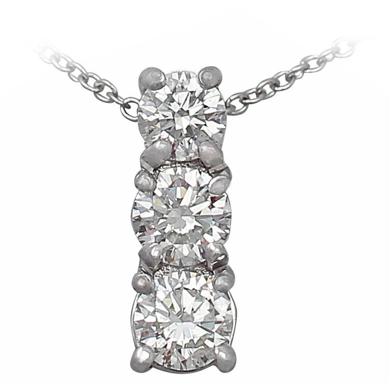 0.65Ct Diamond and Platinum Trilogy Pendant - Contemporary