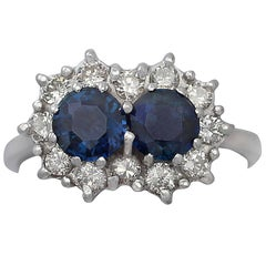 1970s 1.36 Carat Sapphire & Diamond White Gold Cocktail Ring