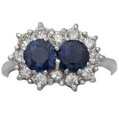 1970s 1.36 Carat Sapphire & Diamond White Gold Cocktail Ring