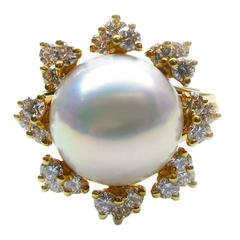 Kurt Wayne Pearl Diamond Gold Ring