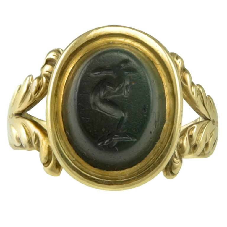 Small 18th century Gold Ring set with a Roman Magical Intaglio 1