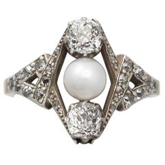 1900s Antique 1.15 Carat Diamond and Pearl Yellow Gold Cocktail Ring