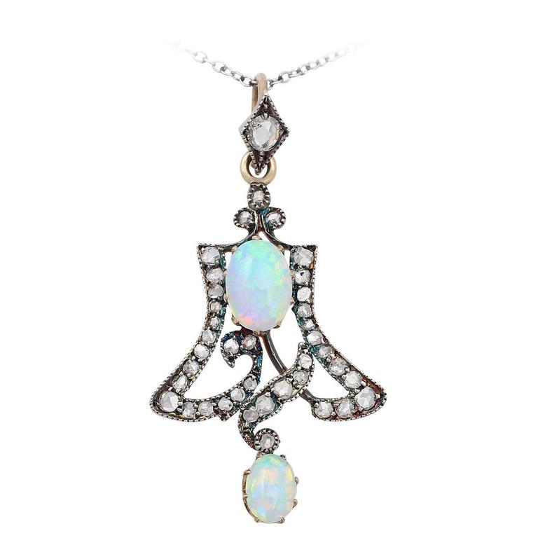 Opal & 1.12Ct Diamond, 15k Yellow Gold Pendant - Art Nouveau Style - Antique