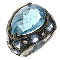 Blue Aquamarine Drop White Gold Cocktail Ring Modern Sapphires Diamonds