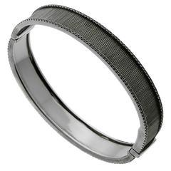 Etername for Opulent Jewelers Black Spinel Gold Bangle Bracelet