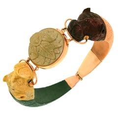 c1820-40s Etruscan Revival Carved Lava Bracelet