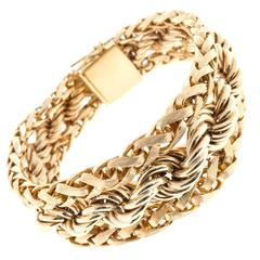 Heavy Gold Florentined Wheat and Rope Chain Bracelet