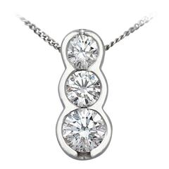 0.86Ct Diamond and Platinum Trilogy Pendant - Contemporary Circa 2000