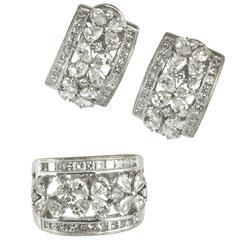 1960s Matching Diamond 18K Gold Flower Earrings and Ring Set
