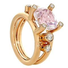 Erich Zimmermann One of a Kind Kunzite White Diamond Double Band Hollywood Ring