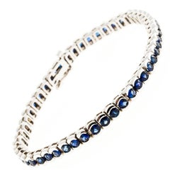 Cornflower Sapphire Semi Bezel Link Gold Bracelet