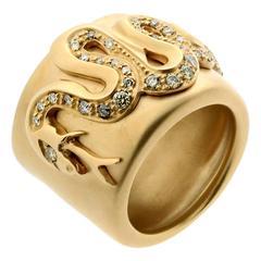 Pomellato Diamond Gold Snake Ring