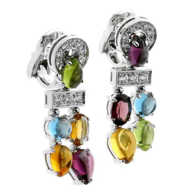 Bulgari Allegra Gemstone Diamond Gold Dangle Earrings