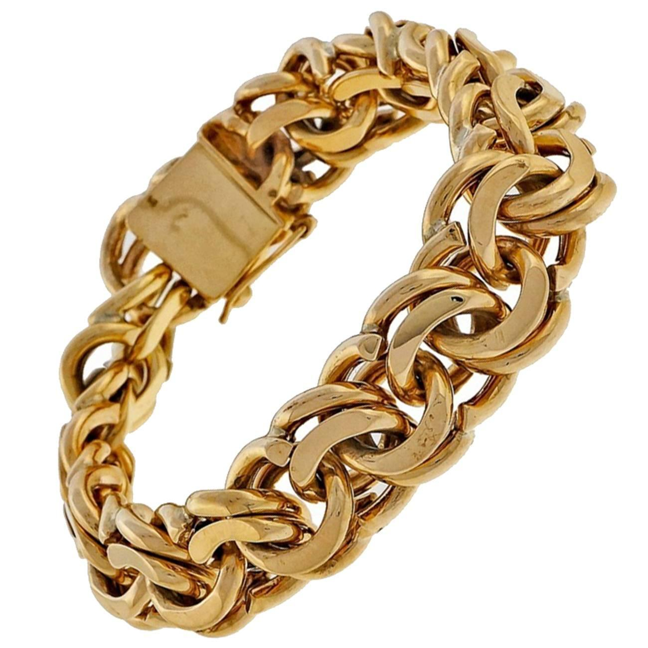 Gold Charms For Charm Bracelet: Heavy Solid Gold Double Spiral Link Charm Bracelet At 1stdibs