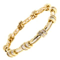 SRT Double Swirl Baguette Diamond Gold Bracelet