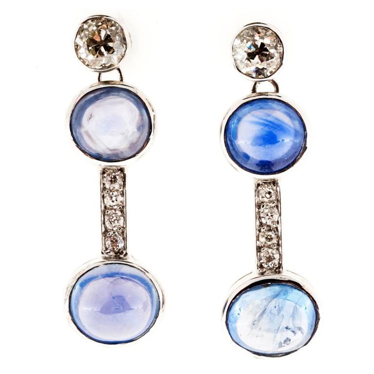 Cabochon Blue Sapphire Diamond Platinum Dangle Earrings