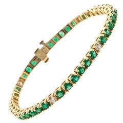Green Emerald Diamond Gold Tennis Bracelet