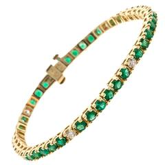 Green Emerald Diamond Gold Tennis Bracelet