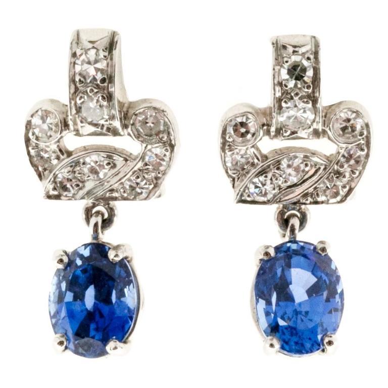 Art Deco 2.08 carat Blue Natural Sapphire Diamond Platinum Earrings