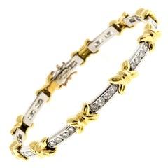 Diamond Gold Platinum X Bows Bracelet