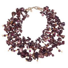 Deborah Liebman Multi Strand Bronze Pearls Citrine Garnet Gold Necklace