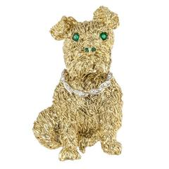 Emerald Diamond Gold Doggie Brooch