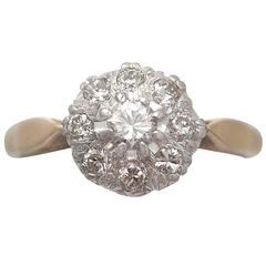 0.45 Carat Diamond, 18 Karat Gold, Platinum Set Cluster Ring, Vintage circa 1950