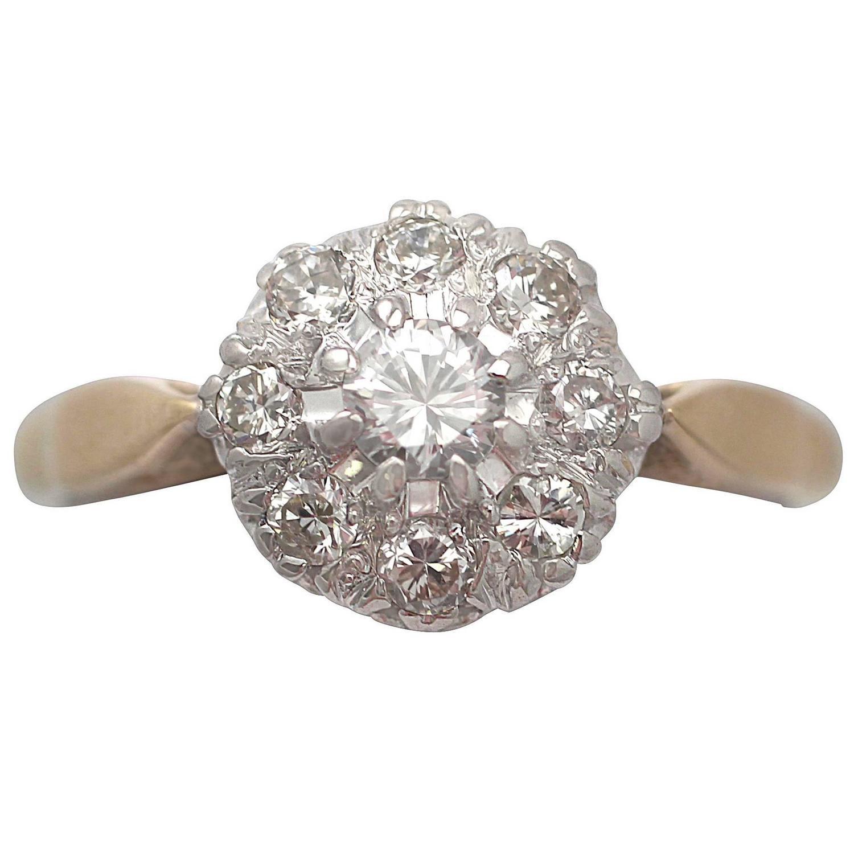 0 45ct 18k yellow gold platinum set cluster ring