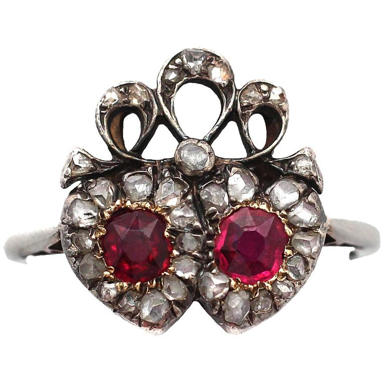 1880s Antique Ruby & Diamond White Gold Cocktail Ring