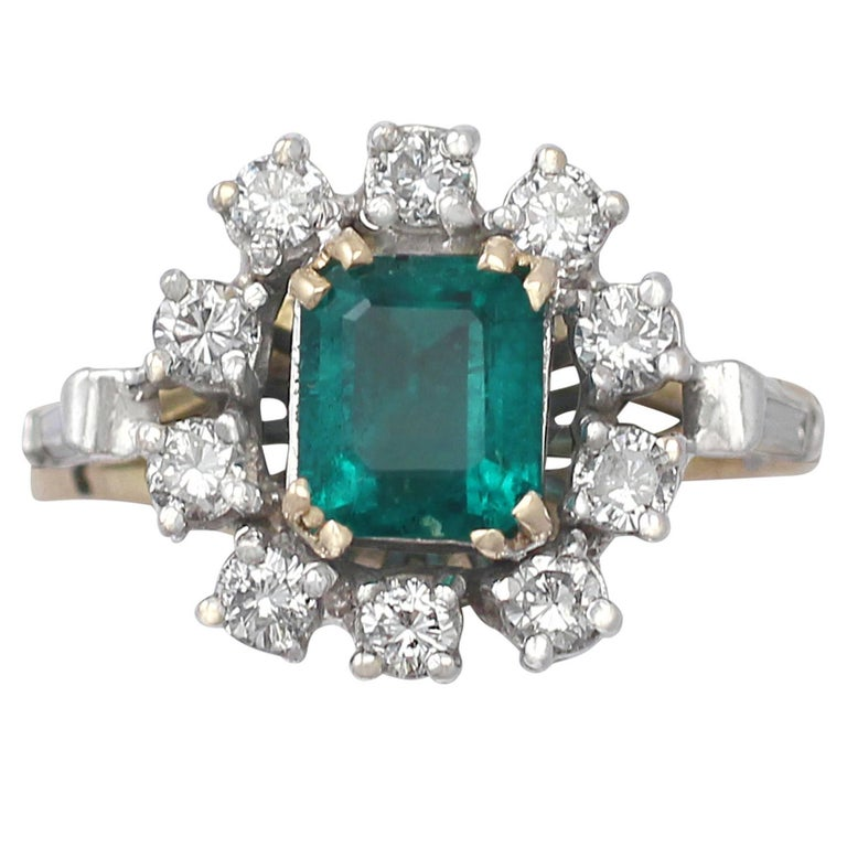 0.84Ct Emerald and 0.50Ct Diamond, 18k Yellow Gold Cluster Ring, Vintage For Sale