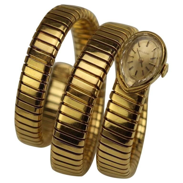 Bulgari Ladies Yellow Gold Juvenia Tubogas Snake Bracelet Wristwatch, circa 1970