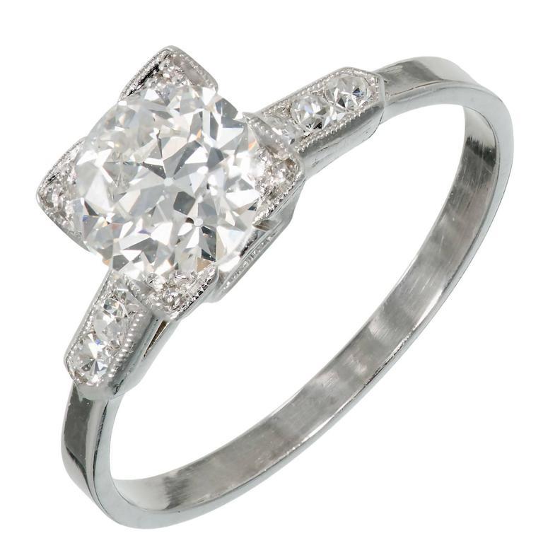 Art Deco Old European Diamond Ideal Cut Platinum Engagement Ring