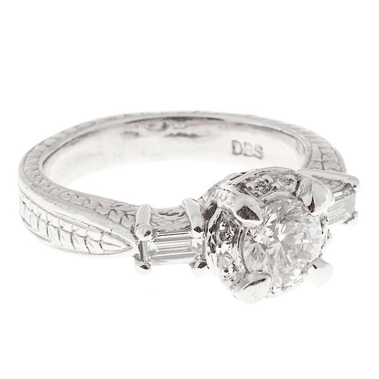 Round Diamond Baguette Halo Platinum Engagement Ring