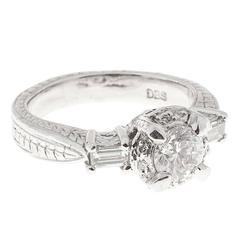Round Diamond Baguette Halo Platinum Engagement Ring