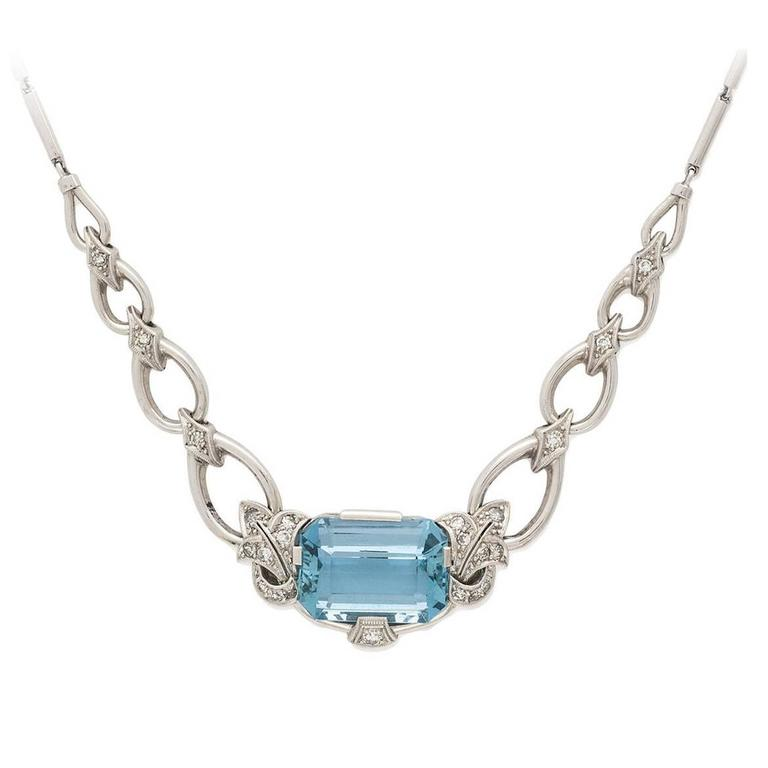 Retro 60's Aquamarine Diamond Gold Necklace For Sale